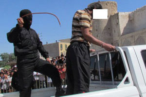 A man being lashed in public in Iran, May 2003