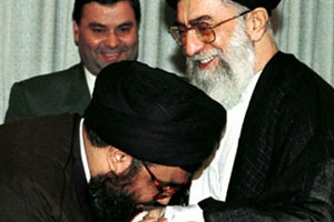 LEBANESE HEZBOLLAH LEADER KISSING HAND OF KHAMENEI