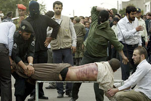 Man lashed in public in Qazvin, August 2007