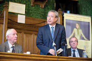 Former UN official Tehar Bomedra speaking in conference in Westminister on Iran