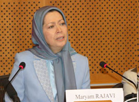 Maryam Rajavi speaking at a conference in the European Parliament