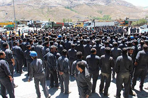 Workers from the Sarcheshmeh copper production complex in Rafsanjan hold protest