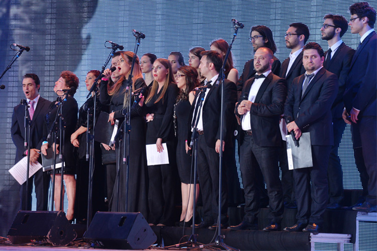 Albania's state radio-television symphony orchestra gives live performance at the major Iran Freedom rally in Parc des Expositions exhibition center on June 13, 2015 in Villepinte, in solidarity with Iran's pro-democracy movement led by opposition leader Maryam Rajavi