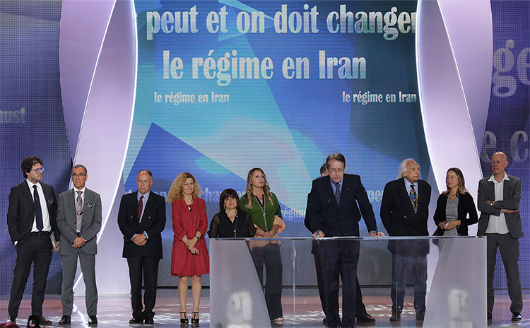 Delegation from Italy addresses major Iran Freedom rally in Parc des Expositions exhibition center on June 13, 2015 in Villepinte. The lawmakers declared their support for the political platform of Iran's Parliament in exile, the National Council of Resistance of Iran (NCRI), and the 10-point plan of opposition leader Maryam Rajavi for a future free Iran