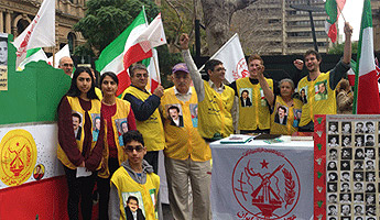 Supporters of the People's Mojahedin Organization of Iran (PMOI) rally in Sydney to condemn executions in Iran