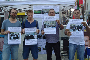 PMOI (MEK) supporters in Bucharest hold human rights display about Iran
