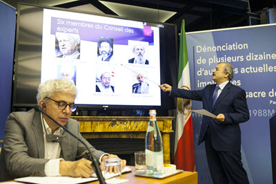 Mohammad Mohaddessin, Chair of the Foreign Affairs Committee of the National Council of Resistance of Iran during a press conference, exposes identities of dozens of officials responsible for 1988 massacre of 30,000 political prisoners in Iran - Paris – September 6, 2016