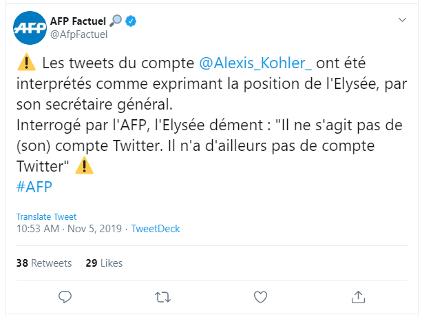 AFP's Tweet about French Elysee's denial of Iran's Ministry of Intelligence fake news