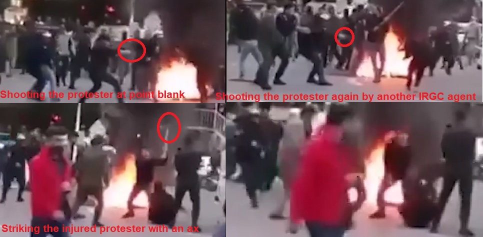 Brutal attack on protester at point blank in Gorgan - November 2019
