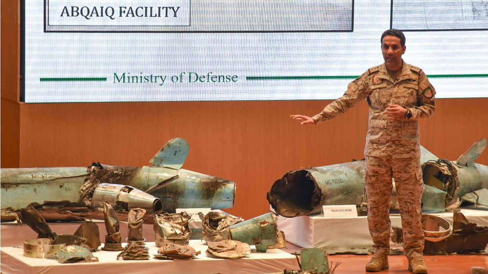 AFP, Riyadh, September 18, 2019 - Saudi Colonel Turki bin Saleh al-Malki displays pieces of Iranian cruise missiles and drones recovered from the attack site that targeted Saudi Aramco's facilities.