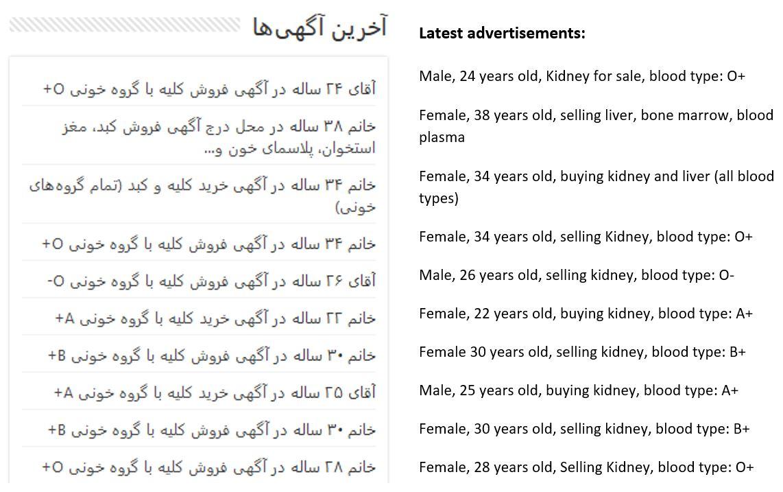 Latest advertisements of kidney sale in Iran