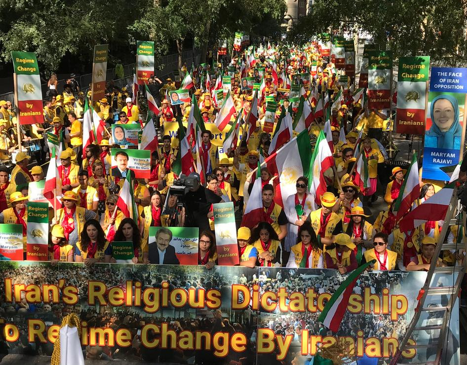 "For the second day in a row, very large demonstration of MEK supporters in New York, simultaneous to Hassan Rouhani's speech at the UNGA- Demonstrators chant ""No to Rouhani"", and ""Regime Change in Iran""-September 25, 2019"