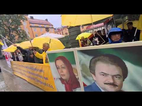 تظاهرات ایرانیان آزاده و هواداران سازمان مجاهدین همزمان با دادگاه دژخیم حمید نوری در استکهلم
