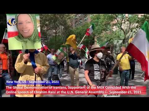 September 21, 2021, New York, US: Rally by the MEK Supporters Against Mass Murderer Ebrahim Raisi