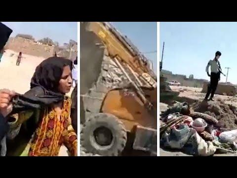 تخریب سرپناه یک بانوی نیازمند در زاهدان توسط مأموران سرکوبگر شهرداری و نیروی انتظامی زاهدان