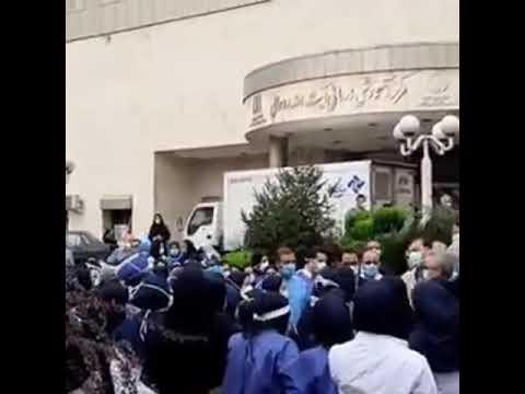 تجمع اعتراضی پرستاران بیمارستان روحانی بابل در اعتراض دریافت نکردن حقوق اضافه کار و کارانه