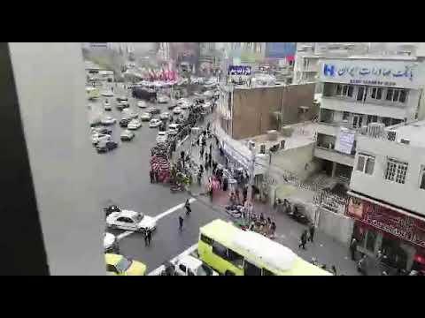 وحشت رژيم از حضور مردم در خيابانها فلکه دوم آریاشهر تهران5 دیماه