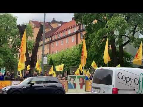 تظاهرات ایرانیان آزاده و هواداران سازمان مجاهدین در استکهلم با شعار مرگ بر خامنهای، رئیسی