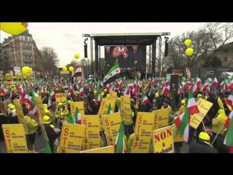 Giulio Terzi à la manifestation contre Rohani et pour les droits de l'homme en Iran