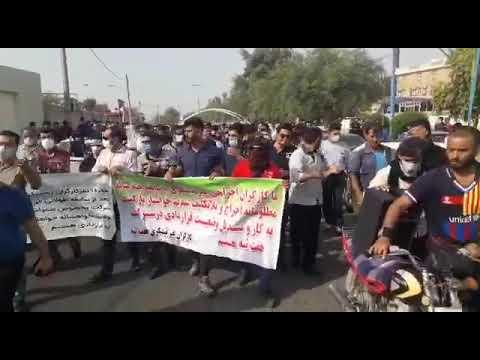 خروش کارگران هفتتپه در خیابانهای شوش در بیست و دومین روز از اعتصاب