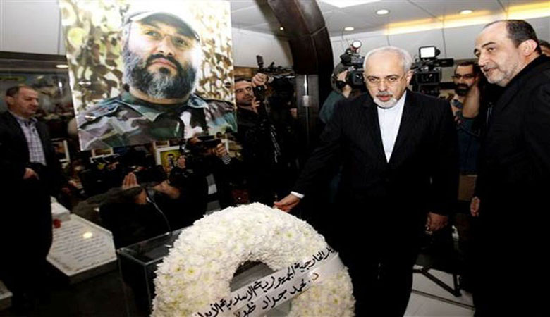 January 2014: The Iranian regime's Foreign Minister and point man in the nuclear talks, Mohammad Javad Zarif, lays a wreath on the grave of Imad Mughniyeh, the main man behind 1983 Beirut bombing.