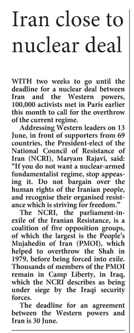 Church Times: 100,000 activists call for overthrow of Iran's regime