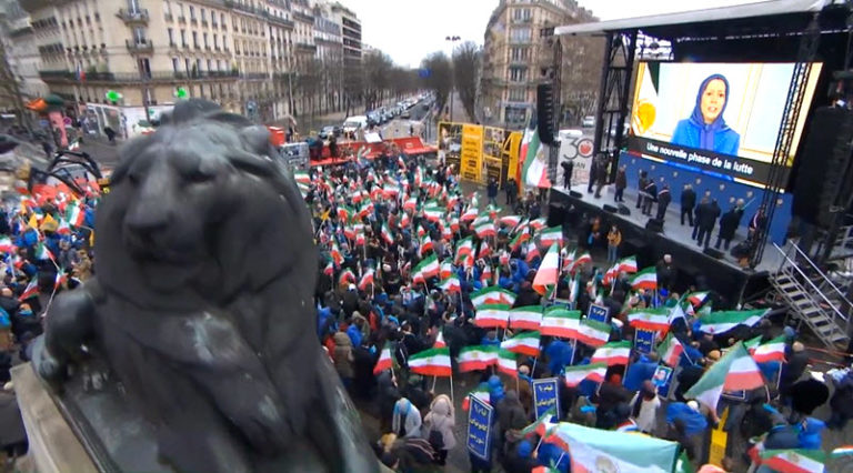 Live Report: Iranians Protest in Paris for a Free Iran – Feb 8