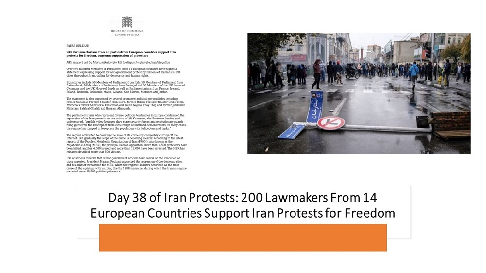 Day 38 of Iran Protests: 200 Lawmakers From 14 European Countries Support Iran Protests for Freedom