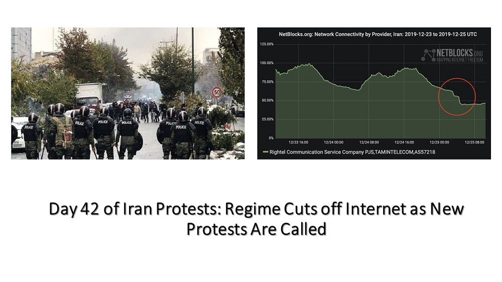Day 42 of Iran Protests: Regime Cuts off Internet as New Protests Are Called
