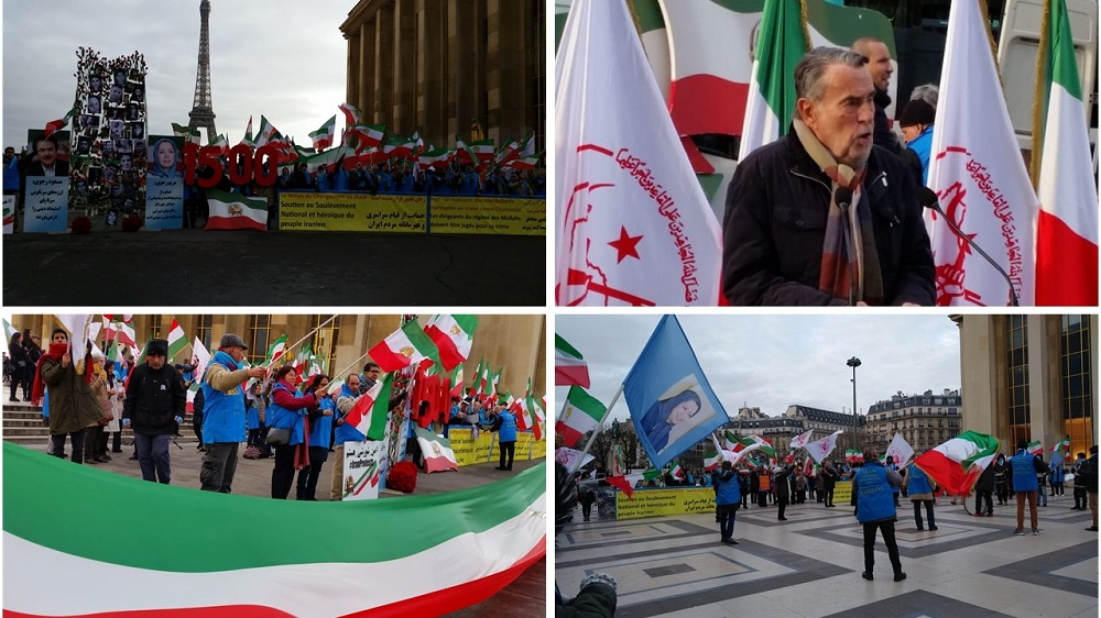 Hundreds of NCRI Supporters Rally in Paris in Solidarity With Iran Protests