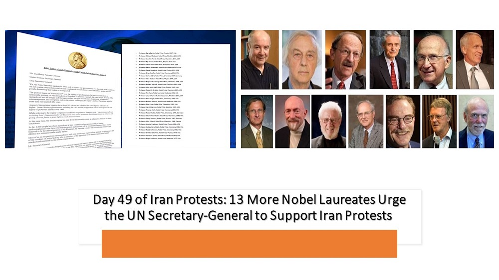 Day 49 of Iran Protests: 13 More Nobel Laureates Urge the UN Secretary-General to Support Iran Protests