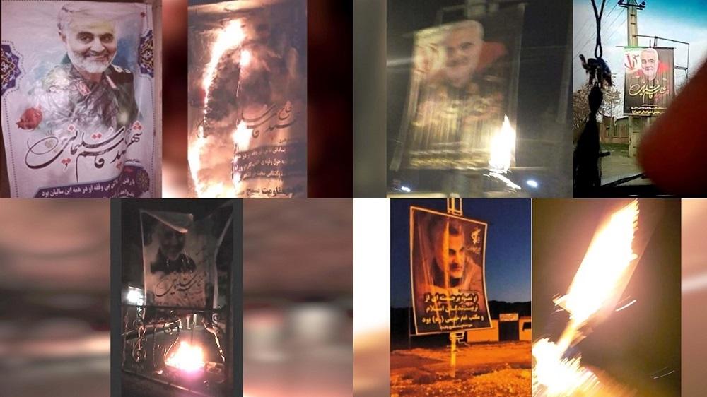 Iran: Torching Qassem Soleimani's Posters Simultaneous With Khamenei's Speech in Tehran Friday Prayer Congregation