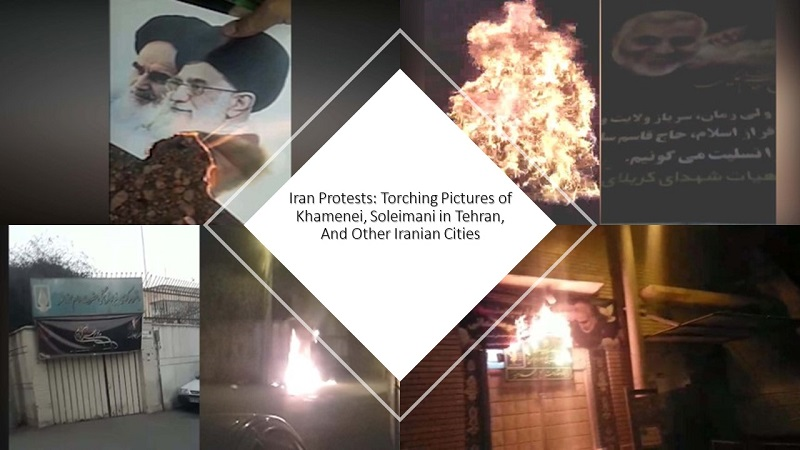 Iran Protests: Torching Pictures of Khamenei, Soleimani in Tehran, And Other Iranian Cities