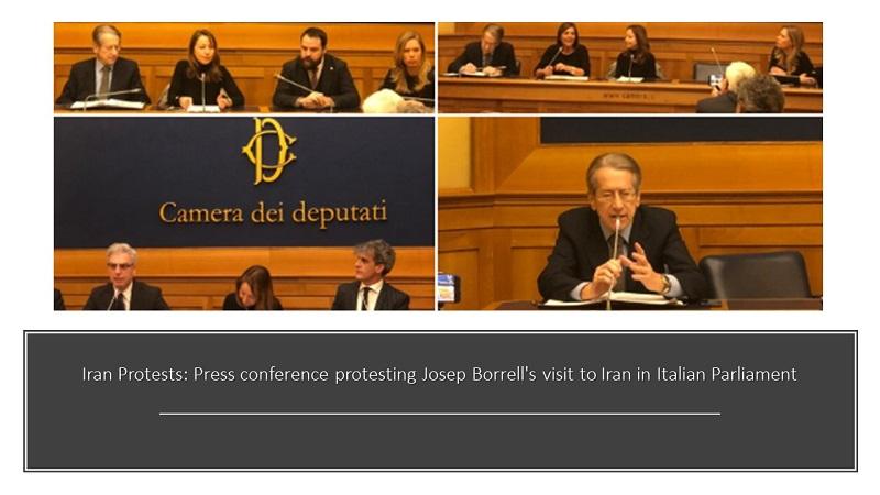 Iran Protests: Press conference protesting Josep Borrell's visit to Iran in Italian Parliament