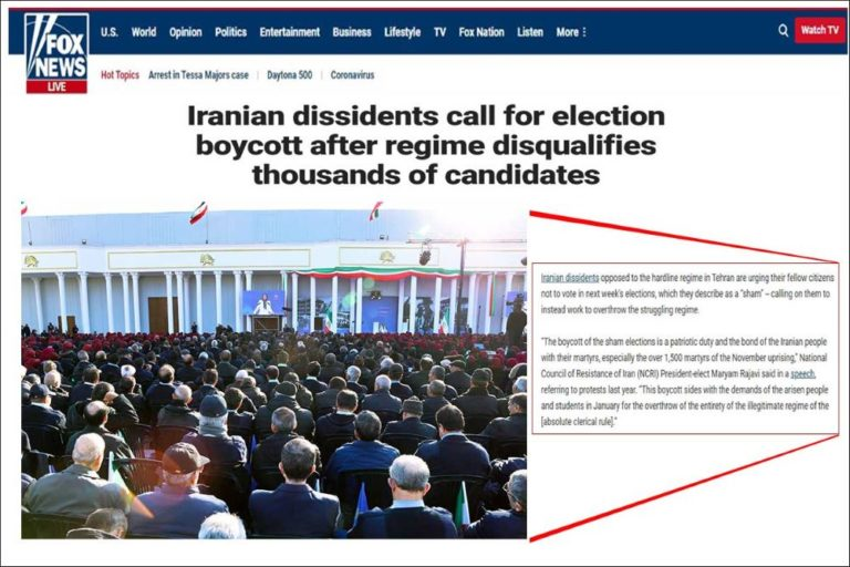 Fox News: Maryam Rajavi Calls for Sham Election Boycott in Iran