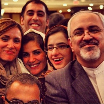 Negar Montazari, and Mina Jafari, NIAC members, in pictures with Iranian regime's Foreign Minister, Mohammad Javad Zarif