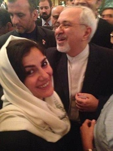 Negar Montazari, NIAC member, in picture with Iranian regime's Foreign Minister, Mohammad Javad Zarif