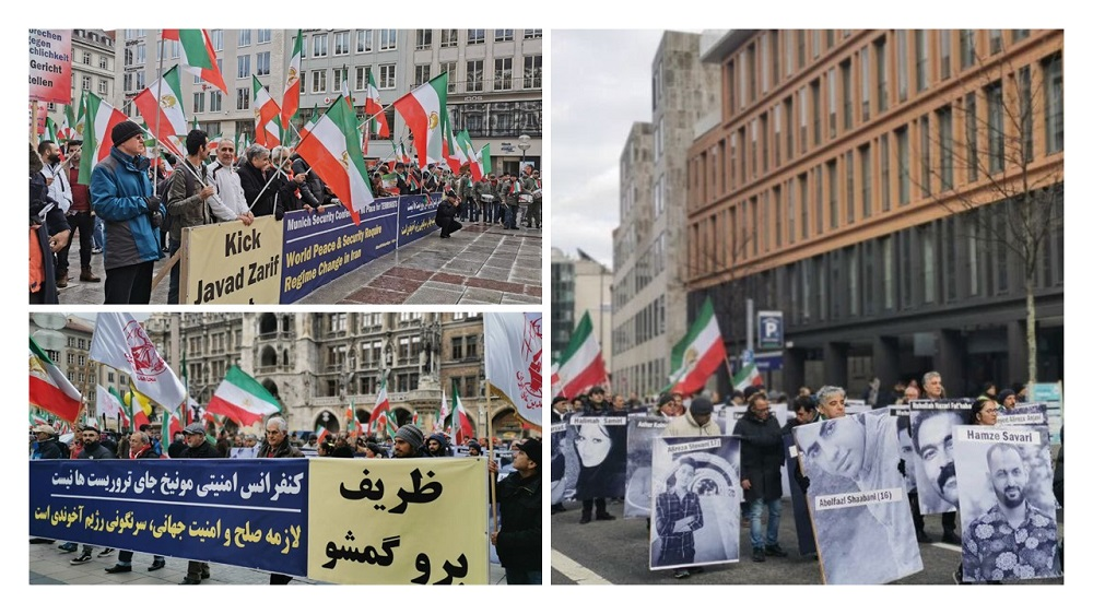 Rally Against Zarif's Presence at the Munich Security Conference