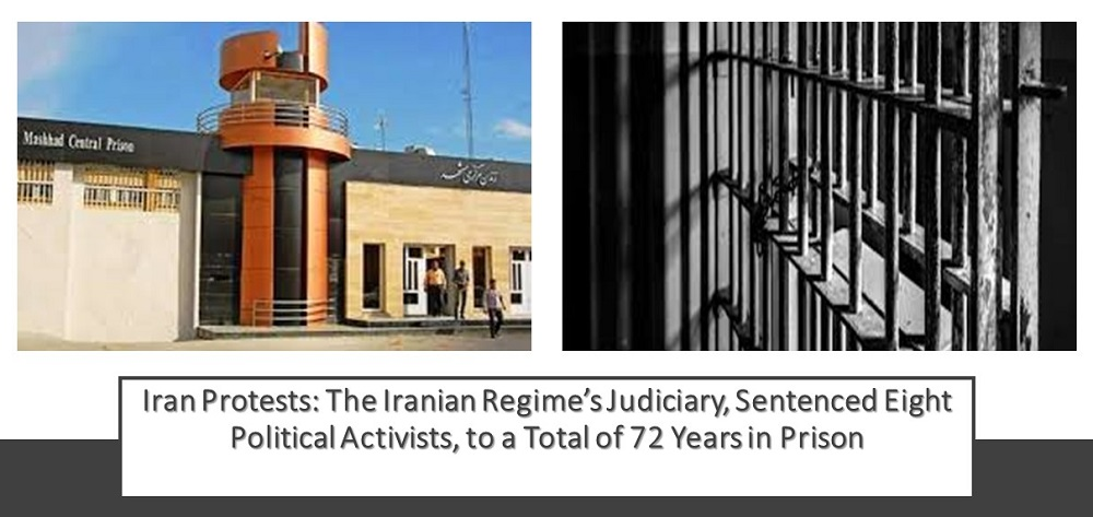 Iran Protests: The Iranian Regime's Judiciary, Sentenced Eight Political Activists, to a Total of 72 Years in Prison