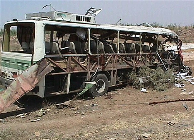 The bus carrying MEK members after the explosion
