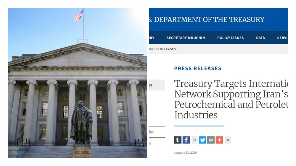The US Treasury department, imposed new sanctions on the Iranian regime's petrochemical industry