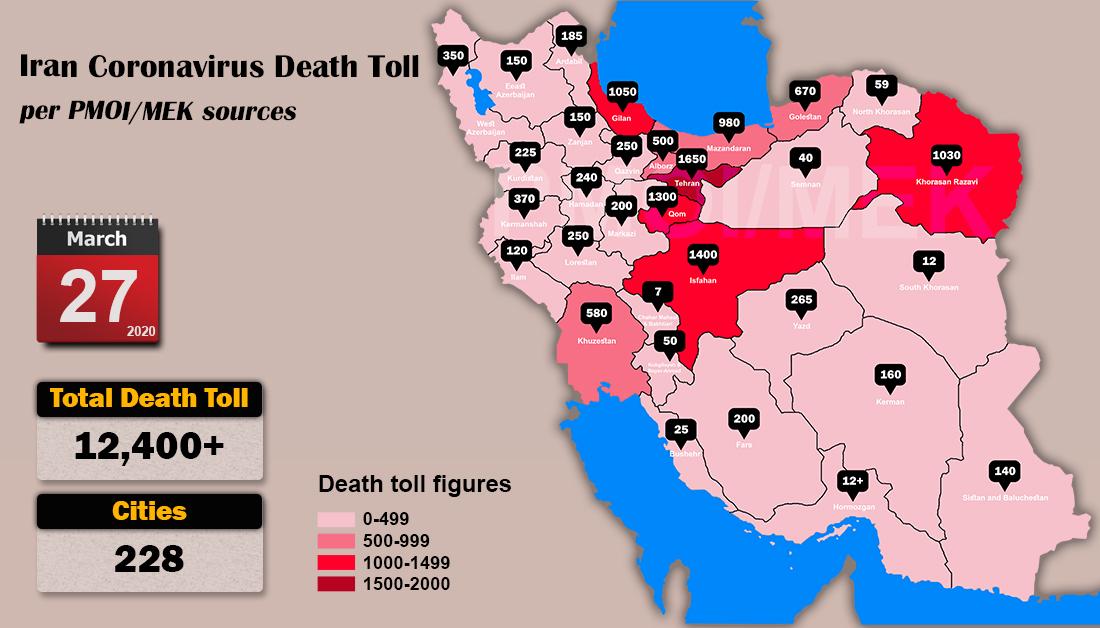 Info-graphic ,Iran: Coronavirus Fatalities, March 27, 2020, 6:00 PM CET