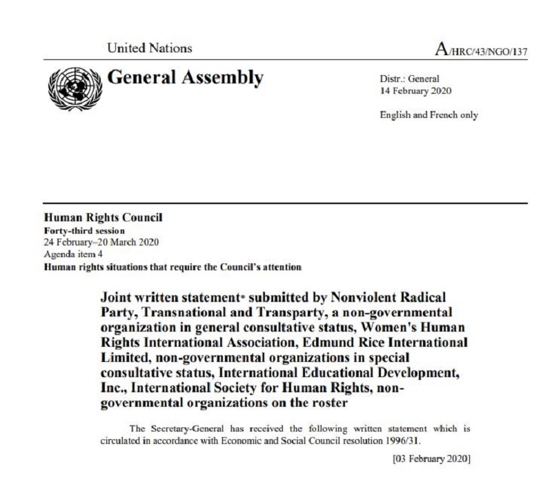 Joint statement of the five NGOs with the UN consultative status