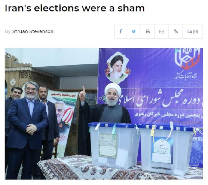 Mr Stevenson's article in UPI on Iran's sham elections