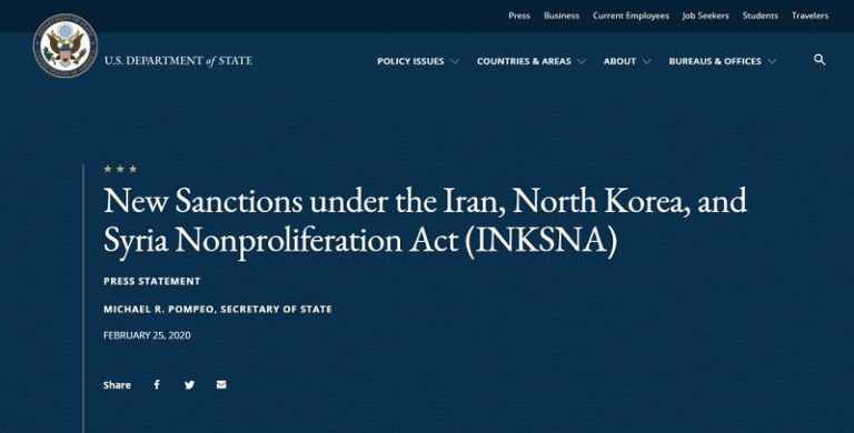 US Slaps New Sanction on 13 Individuals and Entities for Supporting Iran Regime's Missile Program