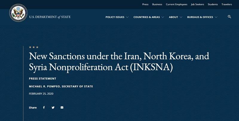 New Sanctions under the Iran, North Korea, and Syria Nonproliferation Act (INKSNA)
