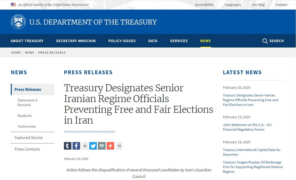 US Treasury Designatates Senior Iranian Regime Officials Preventing Free Elections in Iran