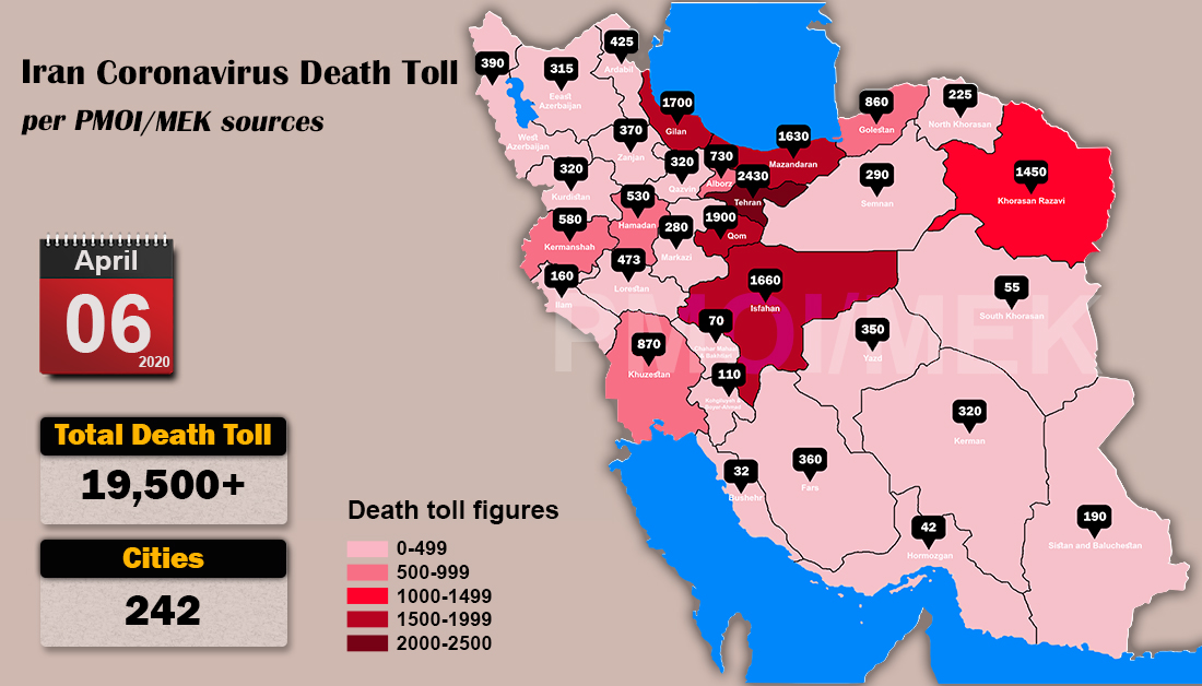 Over 19,500 dead of coronavirus (COVID-19) in Iran-Iran Coronavirus Death Toll per PMOI MEK sources
