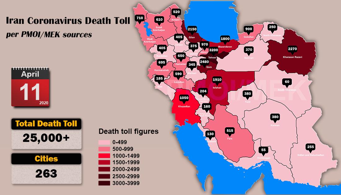 Over 25,000 dead of coronavirus (COVID-19) in Iran-Iran Coronavirus Death Toll per PMOI MEK sources