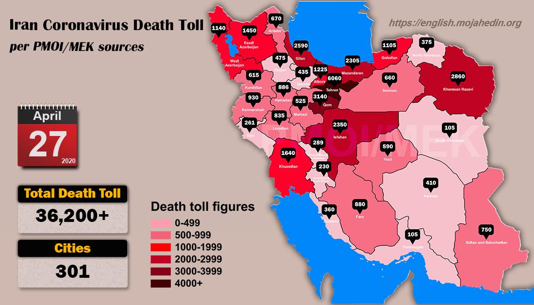 Over 36,200 dead of coronavirus (COVID-19) in Iran-Iran Coronavirus Death Toll per PMOI MEK sources